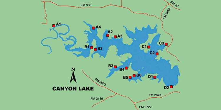 Canyon Lake Boat Map