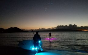 paddle boarding at dark