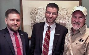 Texas House Rep. Kyle Biedermann and staff with the National Association of Gun Rights