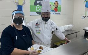 Chef Mario at Rebecca Creek Elementary School today.